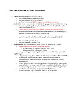 Statisztikai módszerek tudnivalók – 2016 tavasz