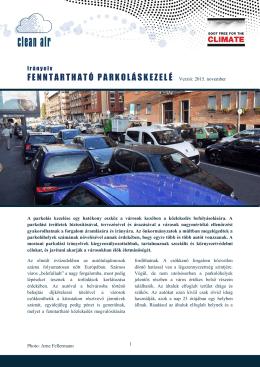 FENNTARTHATÓ PARKOLÁSKEZELÉ Verzió: 2015