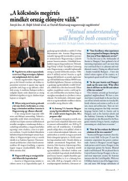 Interjú Őexc. dr. Ralph Scheide úrral, az Osztrák Köztársaság
