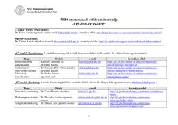 MBA mesterszak I. évfolyam órarendje 2015
