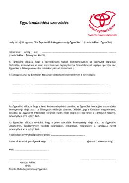 Együttműködési szerződés - Toyota Klub Magyarország Egyesület