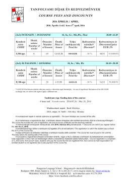 tanfolyami díjak és kedvezmények