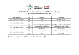 Program tovább - ISU Szinkronkorcsolya Világbajnokság