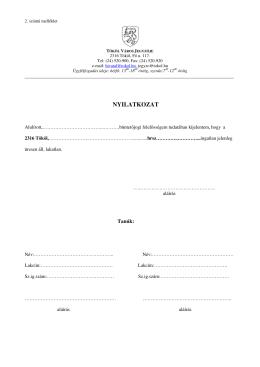 nyilatkozat - TÖKÖL város honlapja