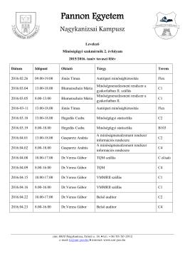 II. évfolyam - Pannon Egyetem Nagykanizsai Kampusz :: PEN