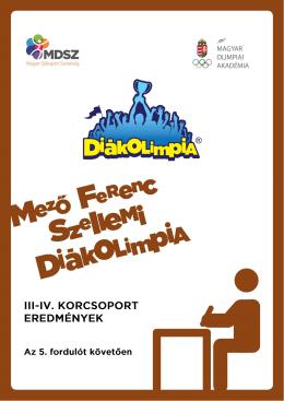 Szellemi Diákolimpia 3-4kcs Internetes eredmények 2015/2016