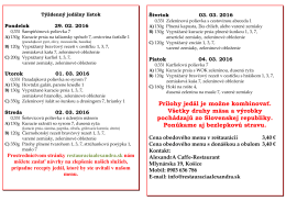 Týždenný jedálny lístok v PDF - AlexandrA Caffe