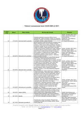 Niektoré zaznamenané akcie OSJM 2005 až 2015