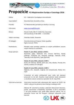 Propozície FCI Majstrovstiev Európy v Coursingu 2016