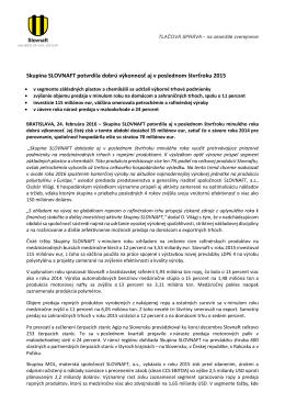 Predbežné výsledky Skupiny SLOVNAFT za štvrtý štvrťrok 2015