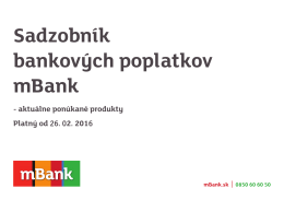 Sadzobník bankových poplatkov mBank