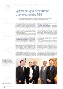 Vyhlásenie výsledkov súťaže o cenu guvernéra NBS