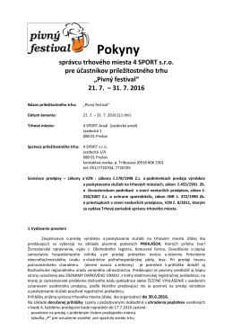 Pokyny správcu - Pivný festival, Prešov