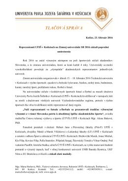 tlačová správa - Univerzita Pavla Jozefa Šafárika v Košiciach
