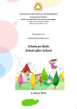 Schola po škole - Inštitút Juraja Páleša v Levoči