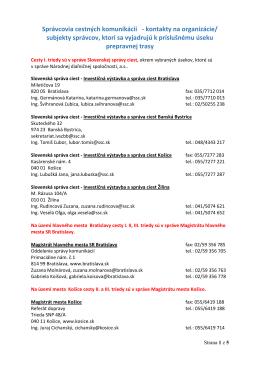 Zoznam správcov cestných komunikácii