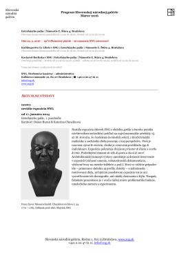 Program Slovenskej národnej galérie - Marec 2016