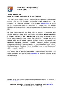 Trenčiansky samosprávny kraj Tlačová správa