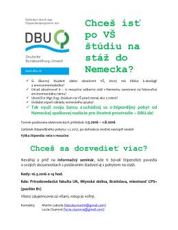 2016/03/16 Informačný seminár: DBU štipendium na odbornú stáž
