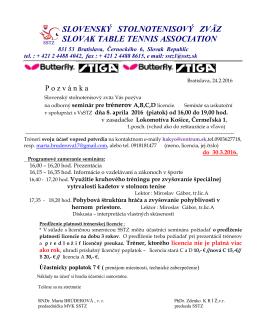 Pozvánka na odborný seminár pre trénerov A,B,C,D licencie