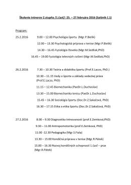 Školenie trénerov 2.stupňa /1.časť/: 25. – 27.februára 2016 (Salónik