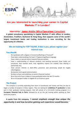Are you interested in launching your career in Capital