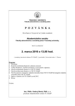 POZV Á NKA - Fakulta zdravotníctva a sociálnej práce