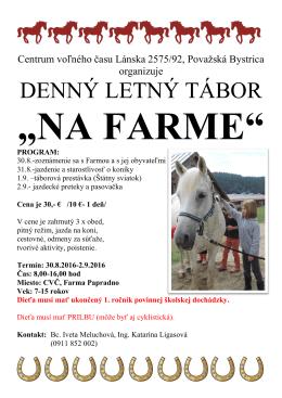 na farme - Centrum voľného času Považská Bystrica