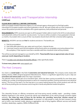 6 Month Mobility and Transportation Internship