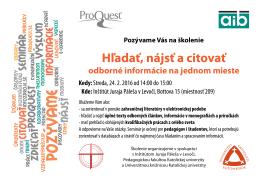 Hľadať, nájsť a citovať - Inštitút Juraja Páleša v Levoči
