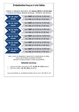 Predprijímačkové kurzy pre 8-ročné štúdium