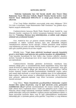 Defterdar Vekilimiz Bülent PAPUCCU`nun 27.Vergi Haftası Vergi