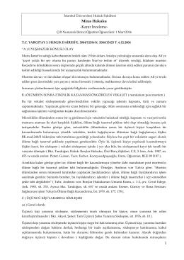 Miras Hukuku -Karar İnceleme - İstanbul Üniversitesi | Hukuk Fakültesi