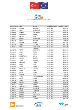 Evde Çocuk Bakımı Projesi Mart 2016 Randevu Listesi Bursa