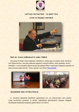HAFTALIK VELİ BÜLTENİ - 26 ŞUBAT 2016 SAYGI VE ÖZLEMLE