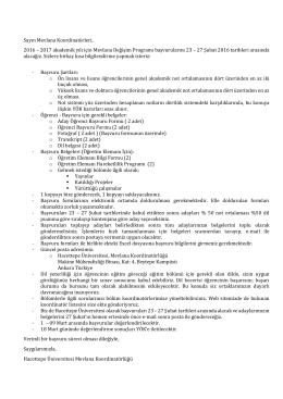 2016-2017 Başvuru süreci - Hacettepe Üniversitesi Mevlana