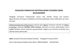 pedagojik formasyon sertifikalarının teslimine ilişkin bilgilendirme