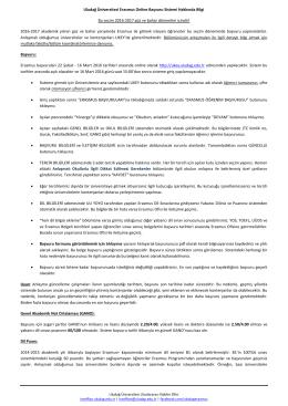 Uludağ Üniversitesi Erasmus Online Başvuru Sistemi Hakkında Bilgi