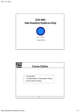 ELN 4403 Hata Düzeltme Kodlarına Giriş Course Outline