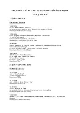 Karadeniz Kitap Fuarı 2016 Etkinlik Programı