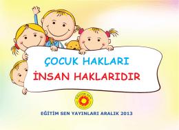 çocuk hakları insan haklarıdır
