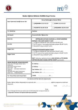 ZUMBA Kayıt Formu - İTÜ Beden Eğitimi Bölümü