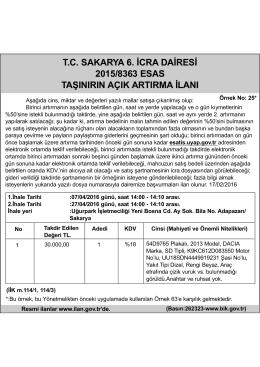 tc sakarya 6. icra dairesi 2015/8363 esas taşınırın açık artırma ilanı