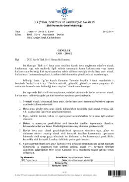 Konu : Sivil Hava Araç - Sivil Havacılık Genel Müdürlüğü
