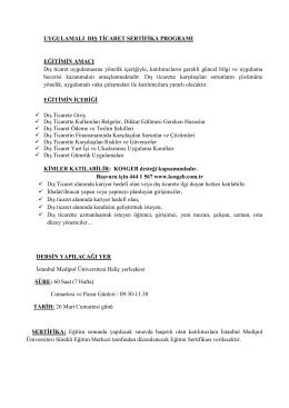 MAR 26 Uygulamalı Dış Ticaret Sertifika Programı