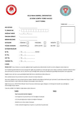 Kayıt Formu - SDÜ Spor Tesisleri