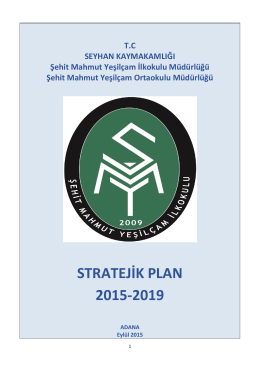 stratejik plan - adana - seyhan - şehit mahmut yeşilçam ortaokulu