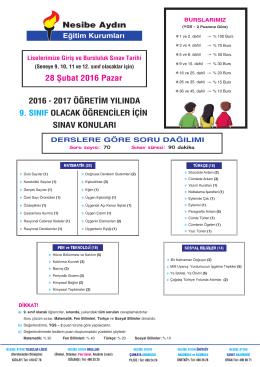 9.sınıf olacak (bursluluk) - ön kayıt nesibe aydın eğitim kurumları