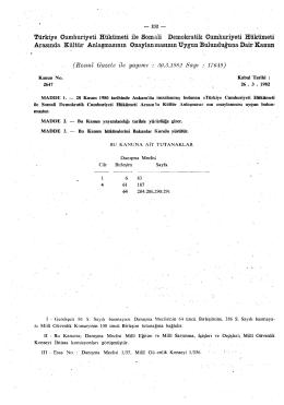 Resmî Gazete ile yayımı : 30.3.1982 Sayı : 17649