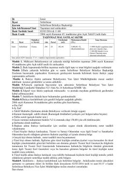 İli İzmir İlçesi Seferihisar Kurum Seferihisar Belediye Başkanlığı İşin